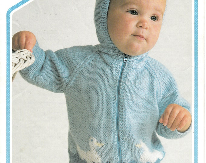 "Original Pattern Peter Pan 445 Baby Babies Toddlers 80s DK duck motif intarsia zipped raglan hoodie jacket knitting pattern 16"" to 20"" chest"