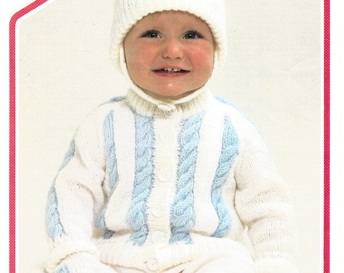 "Original Pattern Peter Pan 477 Baby Babies Toddlers 80s DK crew neck cabled raglan jacket hat and mittens knitting pattern 18"" to 22"" chest"
