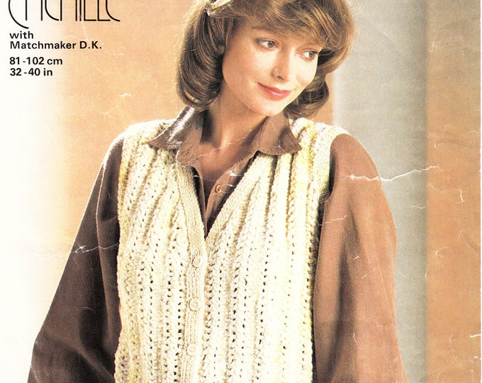 "Original Pattern Jaeger 4885 Ladies Womens 80s vintage V neck cabled cable ribbed aran waistcoat knitting pattern 32"" to 40"" chest"