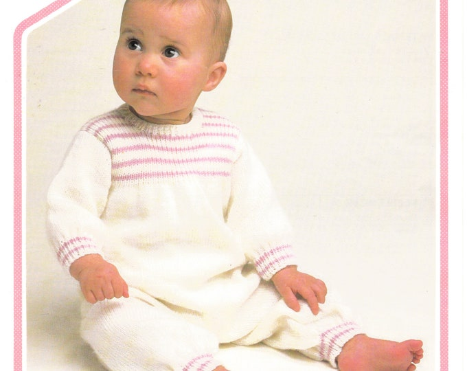 """Original Knitting Pattern Peter Pan 506 Babies Baby 4 ply round neck striped yoke all in one onesie romper play suit 16"""" to 20"""" chest"""