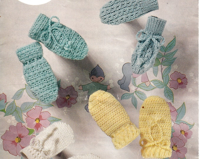 Original Knitting Pattern Peter pan 159 Newborn Baby Babies 60s vintage easy to crochet and cable cabled mittens 4 designs to crochet