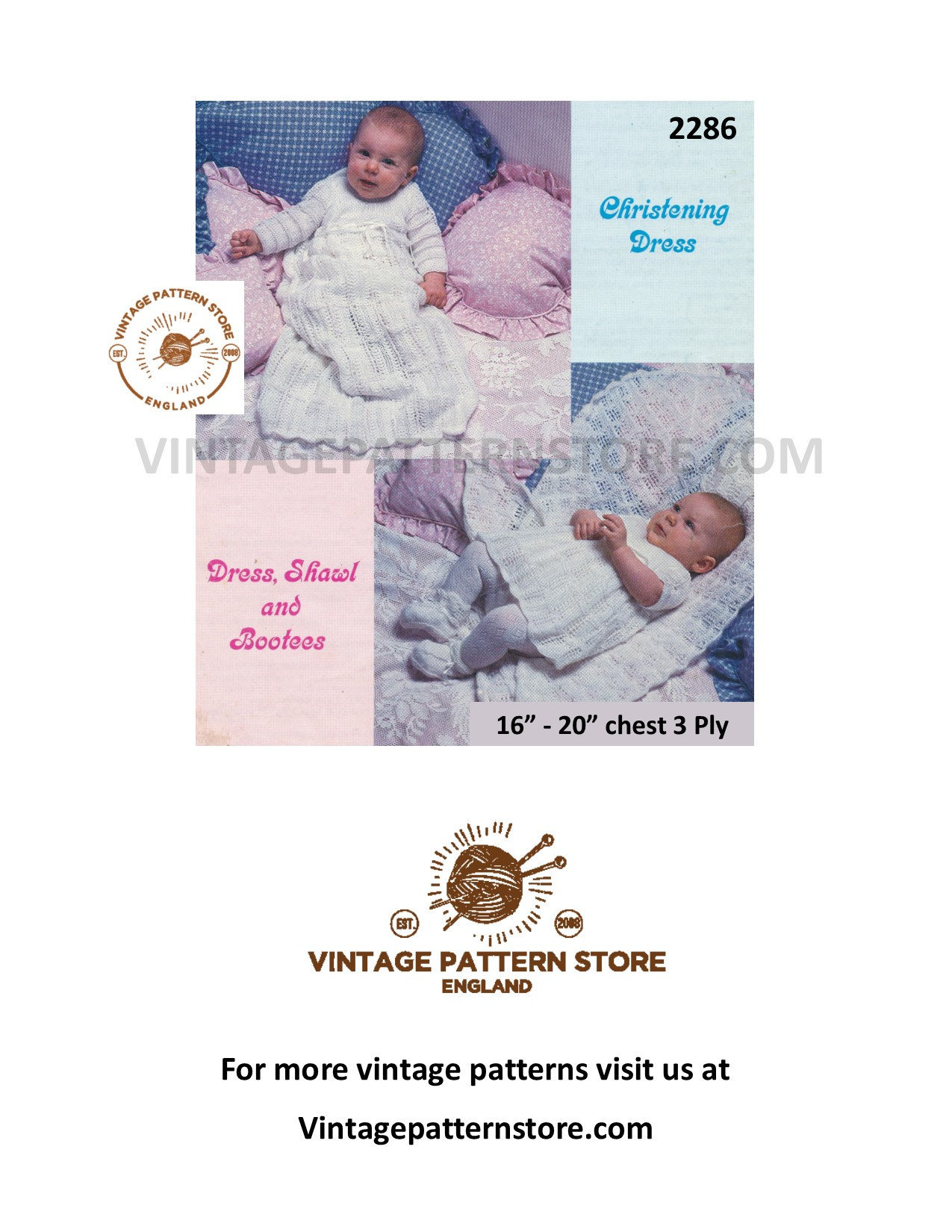 KNITTING PATTERN BABY CHRISTENING ROBE//DRESS /& MATCHING SHAWL IN 3-PLY