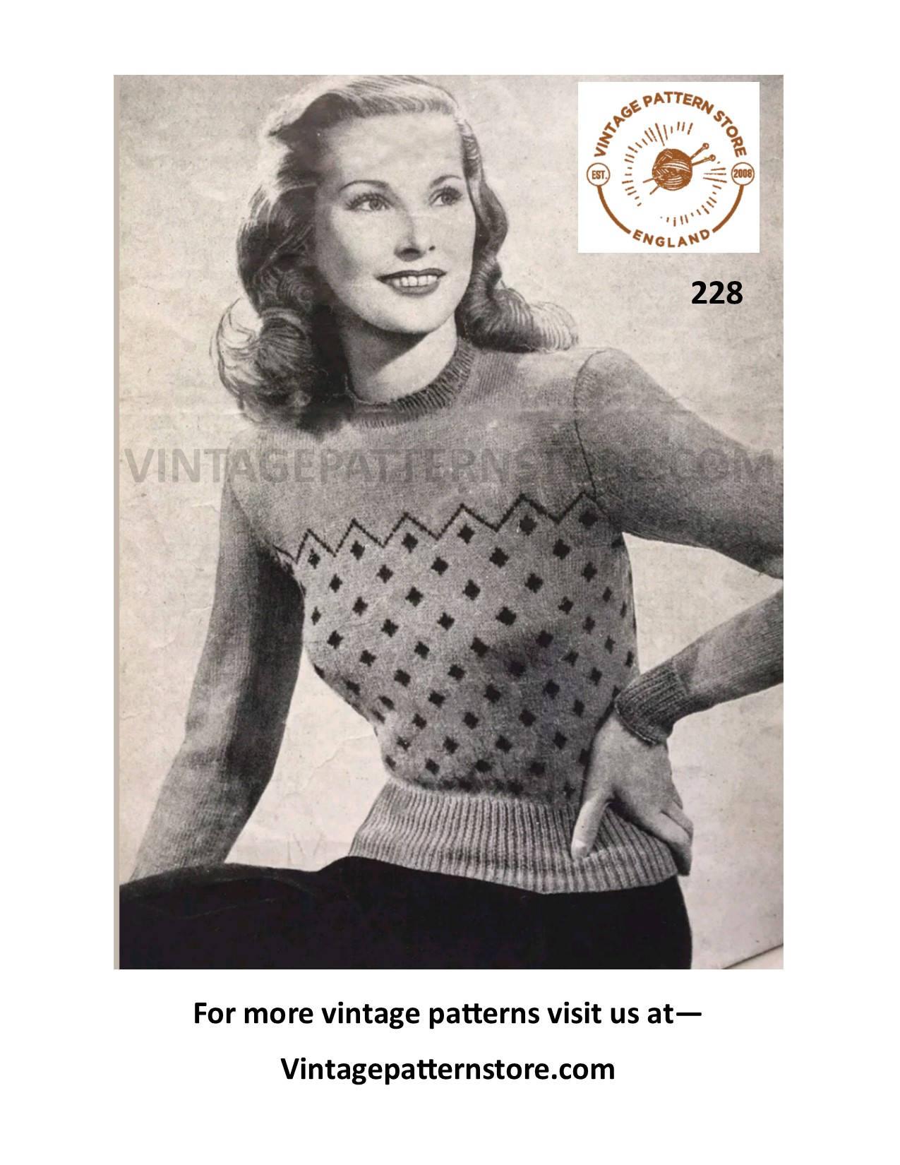 Ladies 40s Knitting Patterns Womens 40s Fair Isle Sweater Pattern