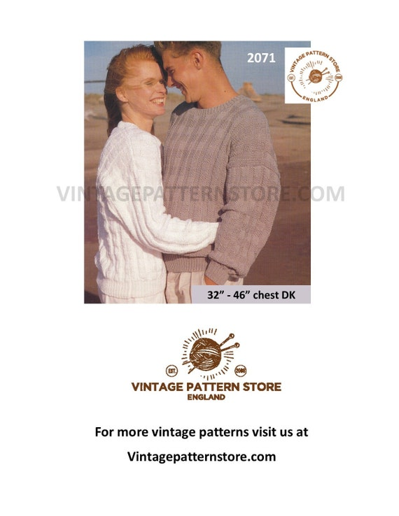 fbee51b72 Couples sweater knitting pattern Mens ladies crew neck