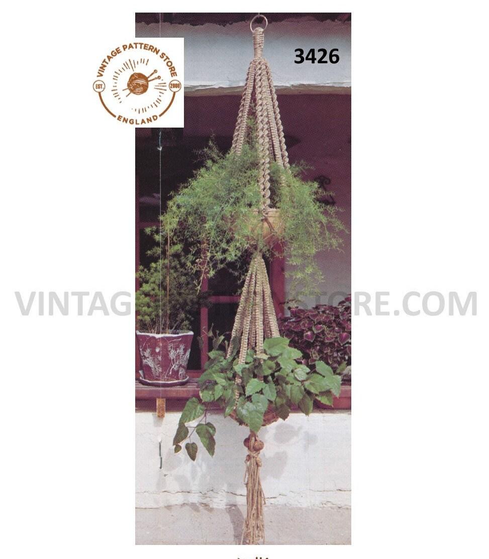 70s vintage double macrame plant hanger pdf macrame pattern 70s macrame retro Indoor garden gardening 7 feet Long Instant download 3426
