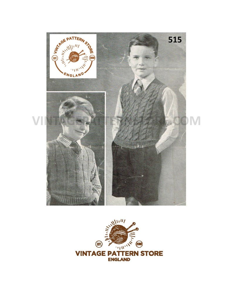451fe678330e Boys 40s tank top knitting pattern Boys ribbed or cable tank
