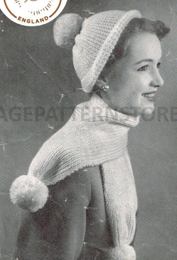Ladies Jelly Bag Hat Knitting Pattern 1960s Pom Pom Hat Beret Jelly