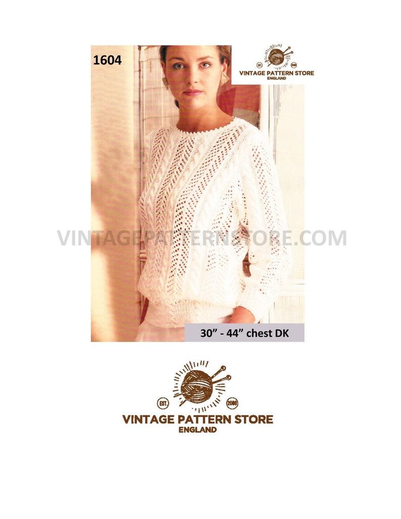 Sweater Ladies Knitting Pattern Lacy 90s DkEtsy 8OPnw0k
