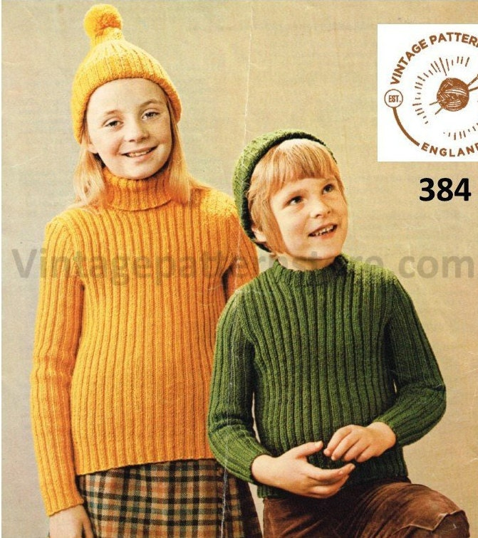 Rib Knit Sweater with Cap Vintage Knitting Pattern Instant Download
