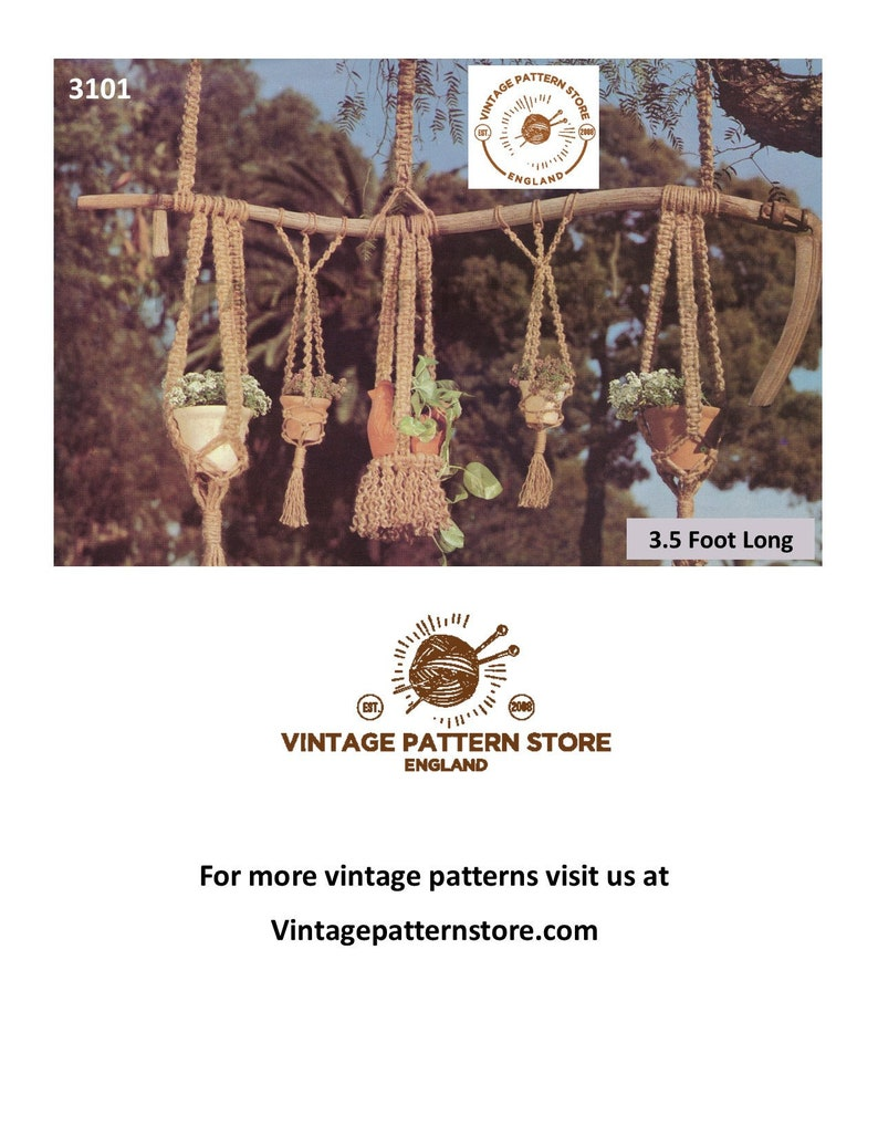 PDF Macrame patterns, 70s Macrame plant hanger pattern, Macrame pot hanger,  Indoor gardening, Vintage garden - 3 5 foot - PDF download 3101