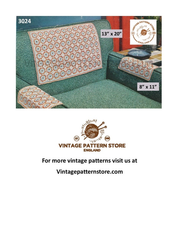 Excellent Vintage Chair Back Covers Crochet Pattern 50S Settee Back Covers And Chair Arm Covers Crochet Pattern Pdf Download 3024 Machost Co Dining Chair Design Ideas Machostcouk