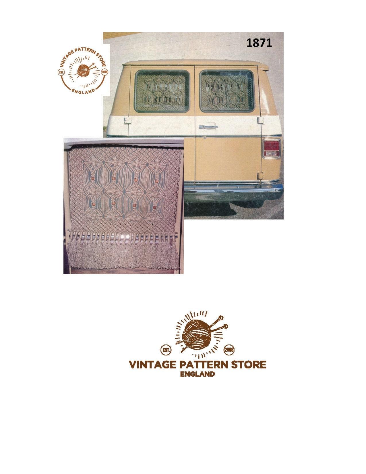 70s Vintage Camper Van Macrame Drapes Net Curtains Pdf Macrame Pattern Instant Pdf Download 1871