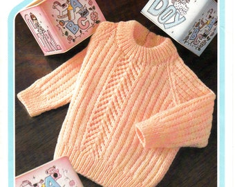 """Original Pattern Peter Pan 395 Baby Babies 80s 4 ply crew neck lace panel ribbed raglan sweater jumper knitting pattern 18"""" to 22"""" chest"""