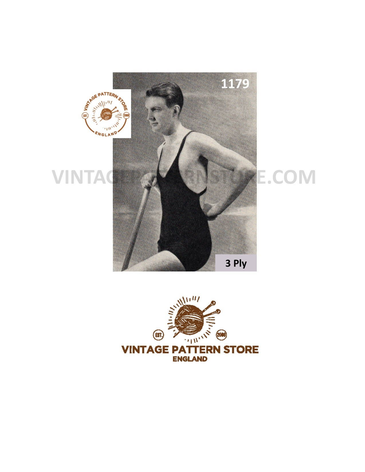 Mans 1920s 1930s Swimming Costume One Piece Bathing Suit Vintage
