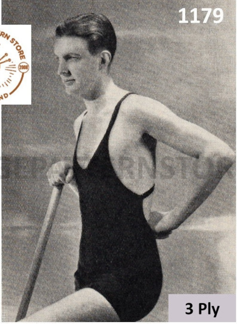 Vintage Men's Swimsuits – 1930s, 1940s, 1950s History Mens Mans 20s vintage 3 ply bathing swim swimming suit costume pdf knitting pattern 24