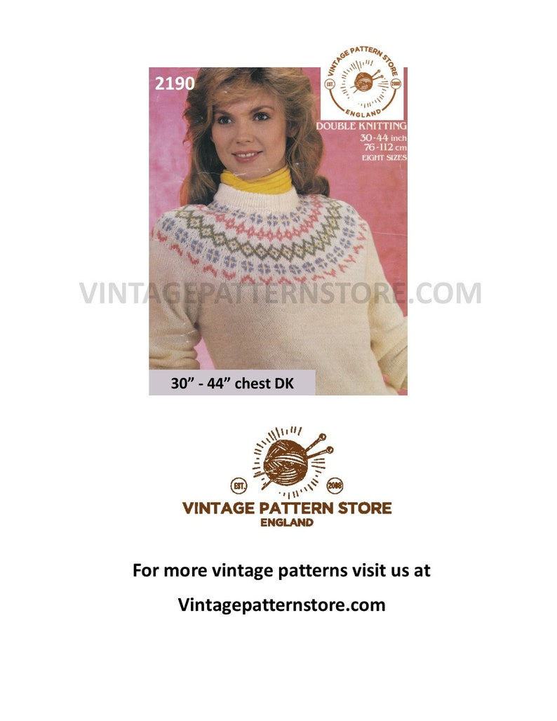 Also as PDF. Ladies intarsia sweater knitting pattern in DK jumper pullover