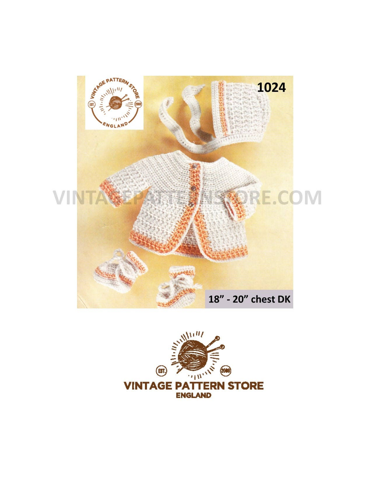 """KNITTING Pattern bonnet and bottees in DK fits 18-20/"""" Baby cardigans"""