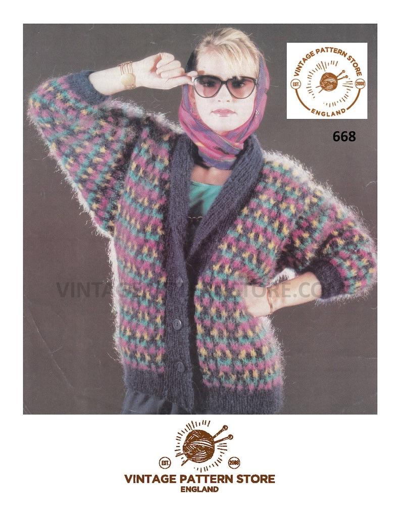 Ladies 90s Cardigan Knitting Pattern Fair Isle Mohair Etsy