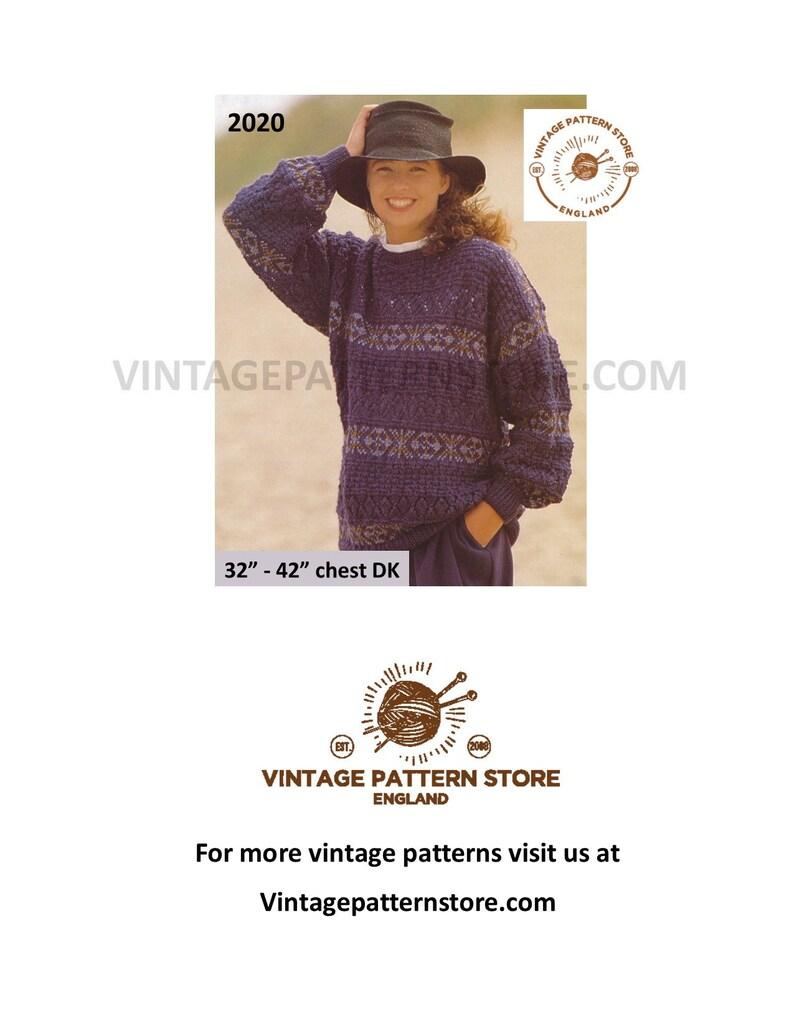 a177e165c159 Fair isle sweater knitting patterns Ladies 90s cable   fair