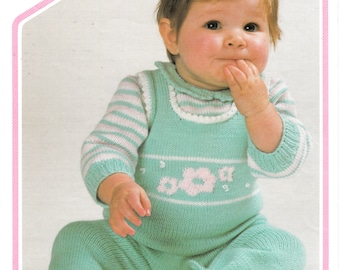 """Original Pattern Peter Pan 420 Baby Babies 80s vintage 4 ply dungarees romper play suit & striped sweater knitting pattern 16"""" to 20"""" chest"""