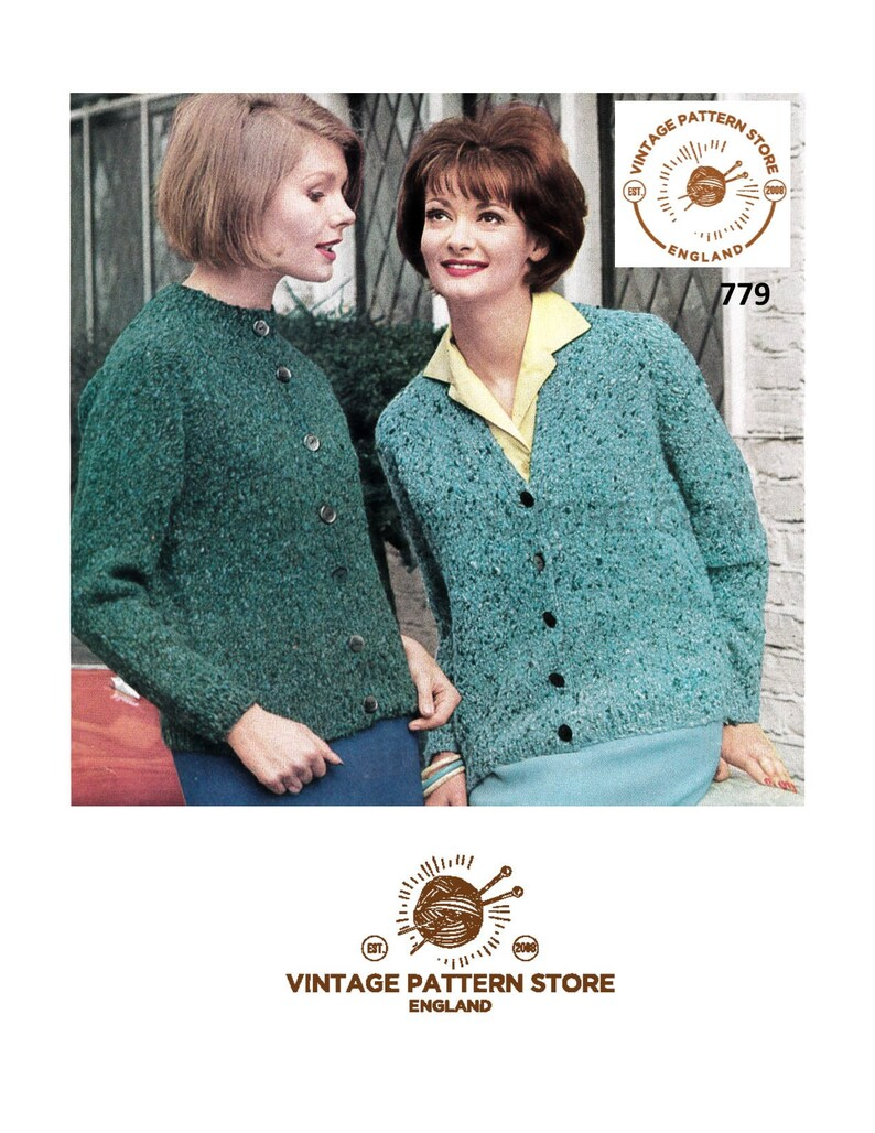 97515aacb Ladies 60s cardigan knitting pattern Easy to knit Cardigan