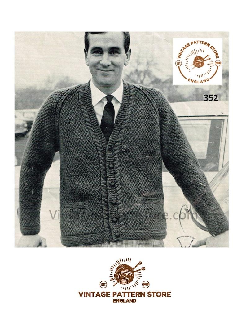 7ec703613eda Mens 50s cardigan knitting pattern Mens chunky cardigan