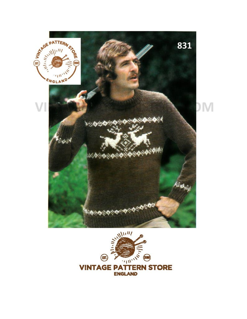 ed58b0379e8c Mens stag Sweater knitting patterns Mens 70s christmas
