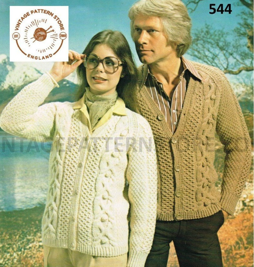 4130e6141 Ladies mens aran jacket pattern