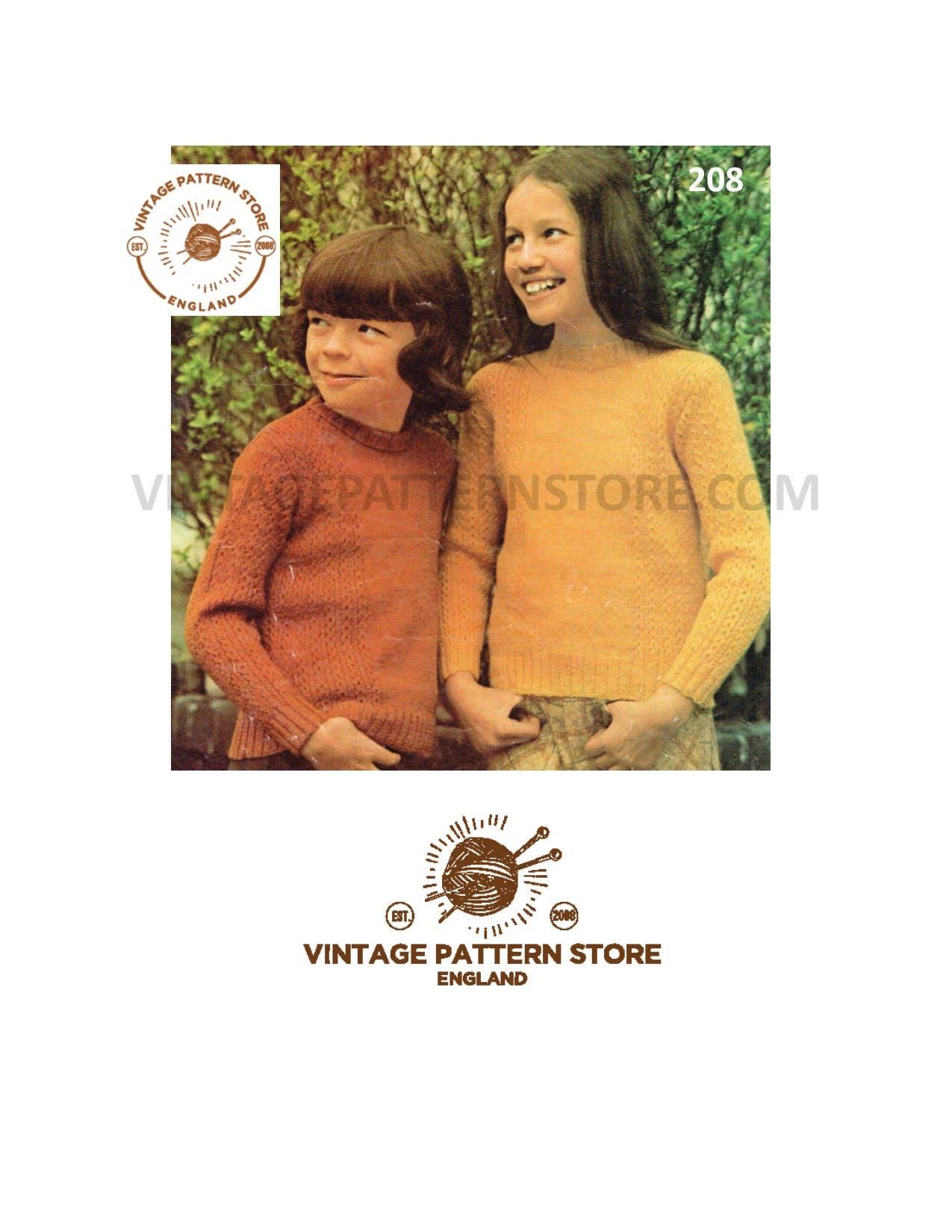 91140b242 Childrens 4 ply sweater knitting pattern