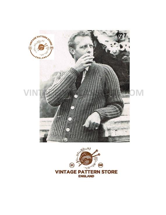 bd814ac34777 Mens 50s cardigan knitting pattern Mens easy to knit cardigan