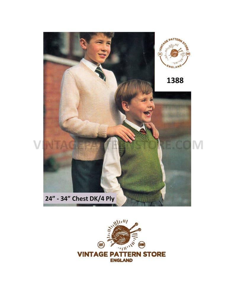 34887c22c Boys 1960s simple   easy to knit V neck slipover sweater vest