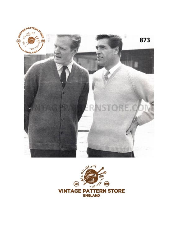 Knitting Pattern Mens Easy Knit Sweater Cardigan Mens 50s Raglan Cardigan And Sweater In Dk 36 44 Chest Pdf Download 873
