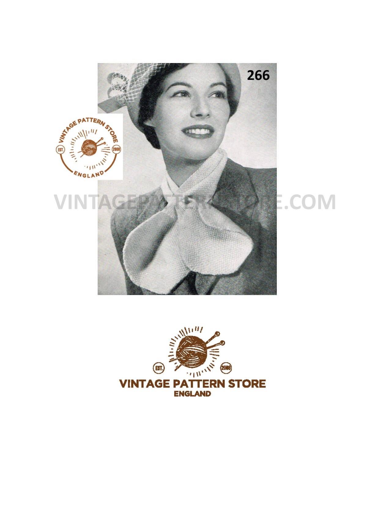 Ladies 30s Scarf Knitting Pattern Ladies 1930s Cravat Pattern