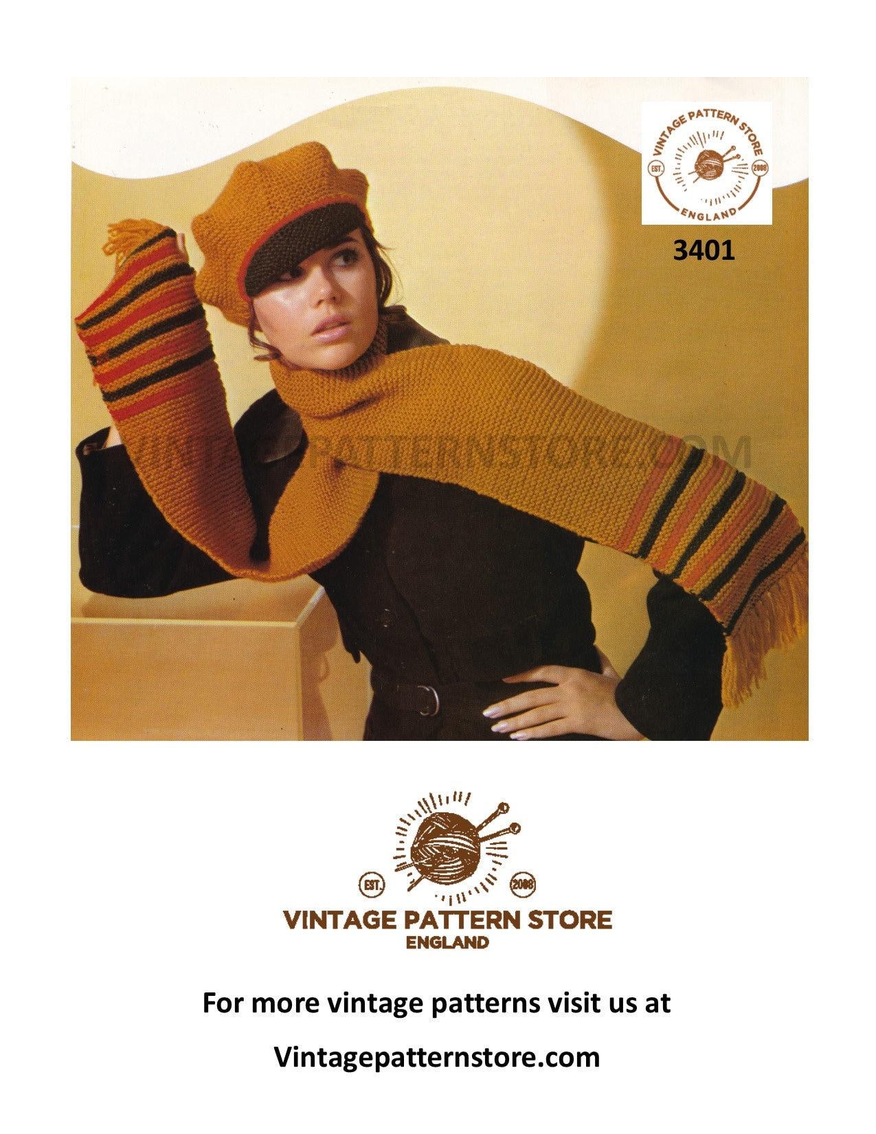 Vintage pattern Ladies Aran Hats and Beret Pattern---