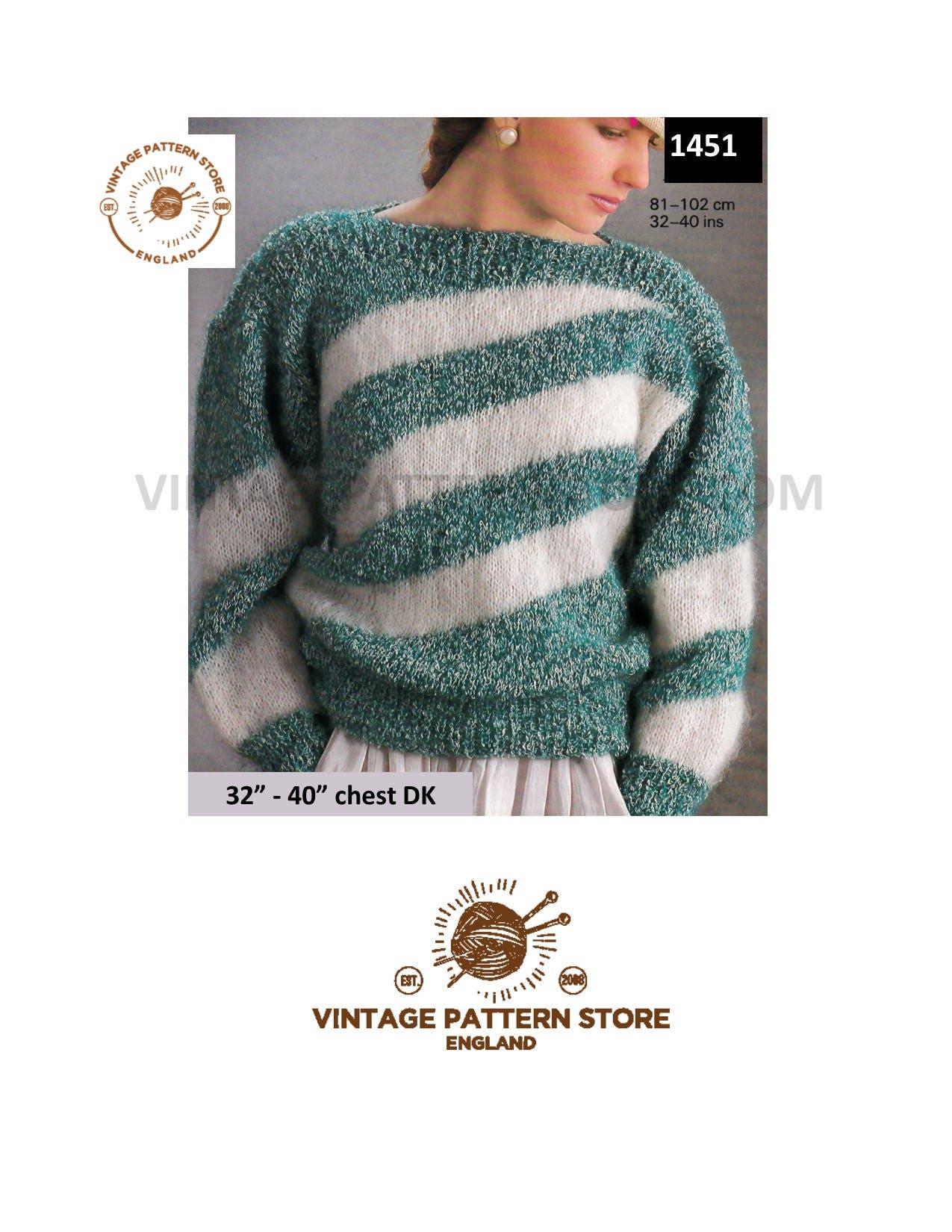 7f45c4e5b1a86 Ladies 90s sweater knitting pattern Slash neck drop shoulder