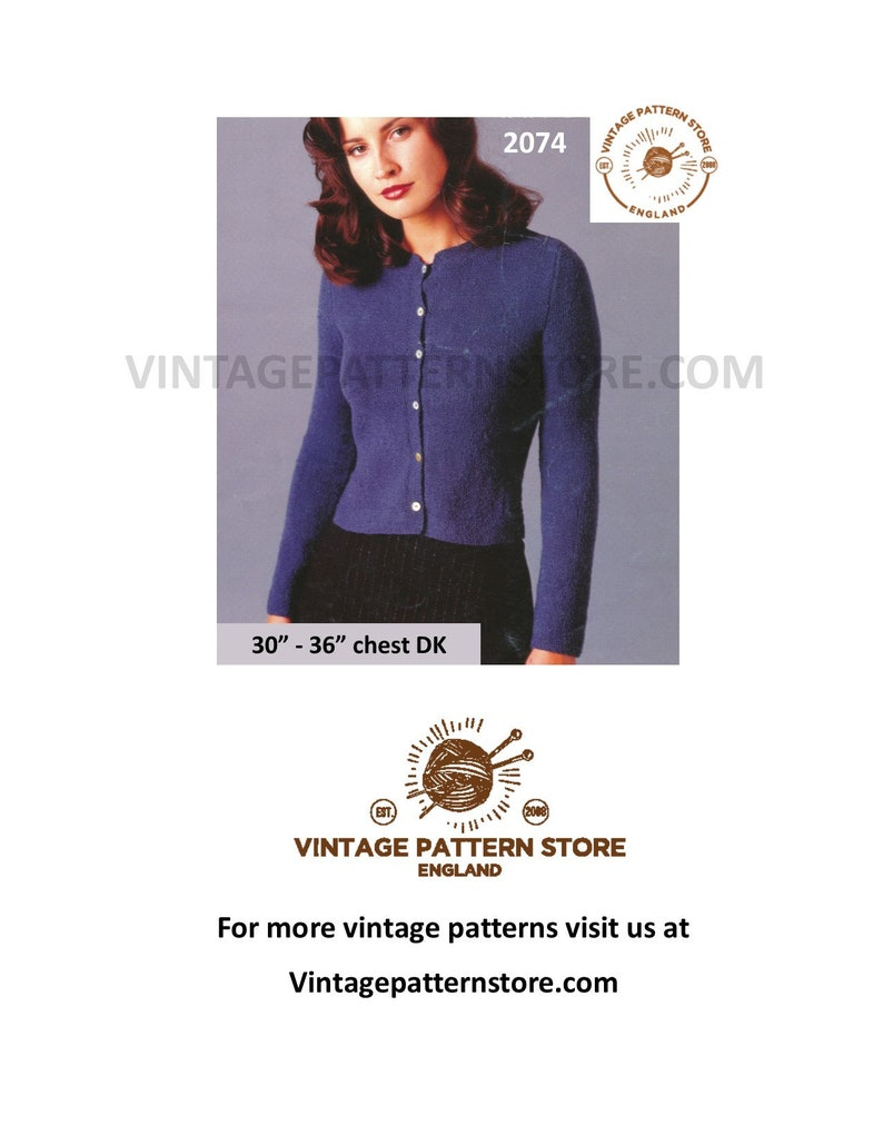 b05adaac9d12 Ladies Cropped Cardigan Knitting Pattern Ladies 90s DK