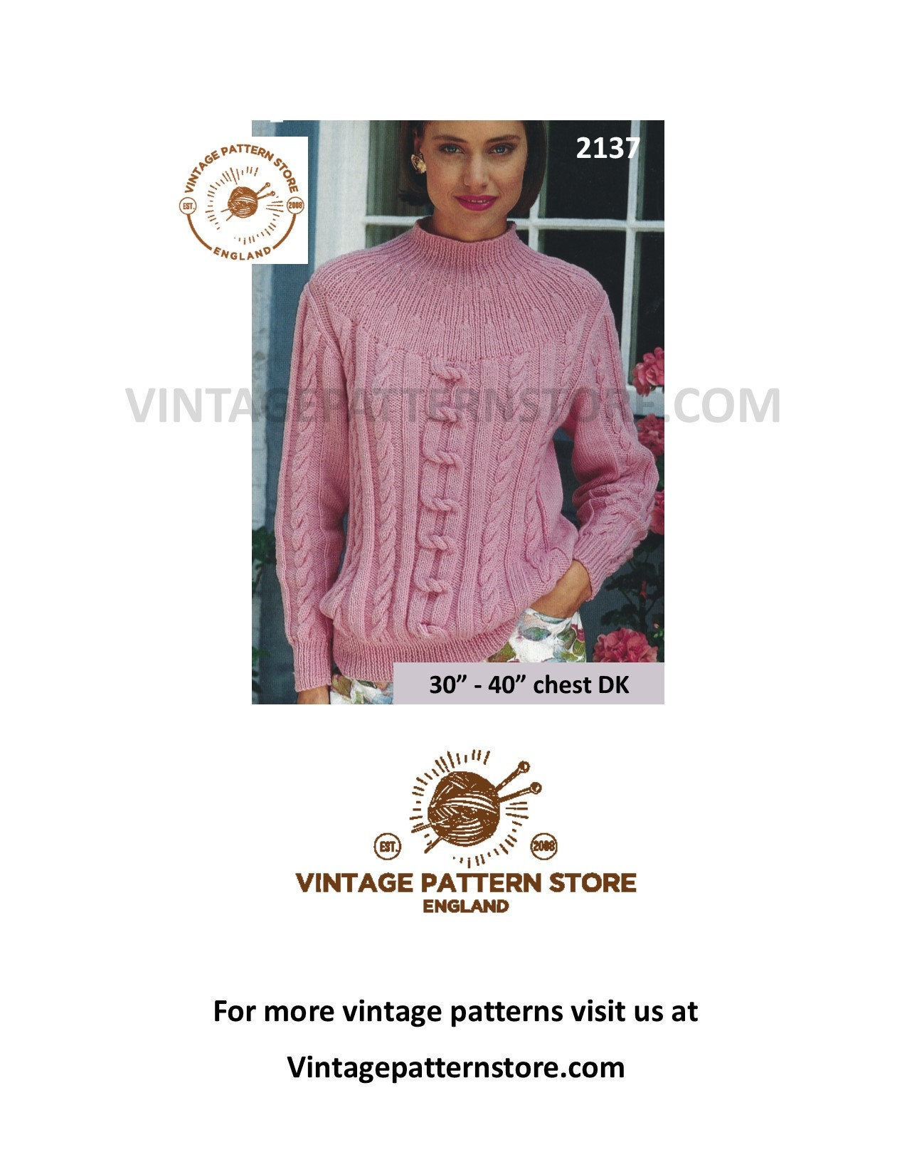 e9bf3d77348b Ladies dk sweater knitting pattern Ladies cable yoke sweater