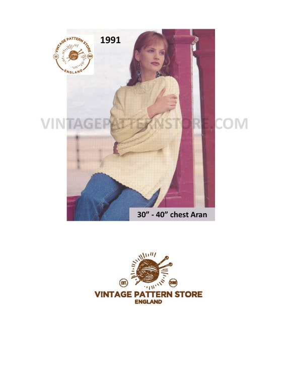 Ladies aran sweater knitting pattern Ladies long line cable  5b12b53e2