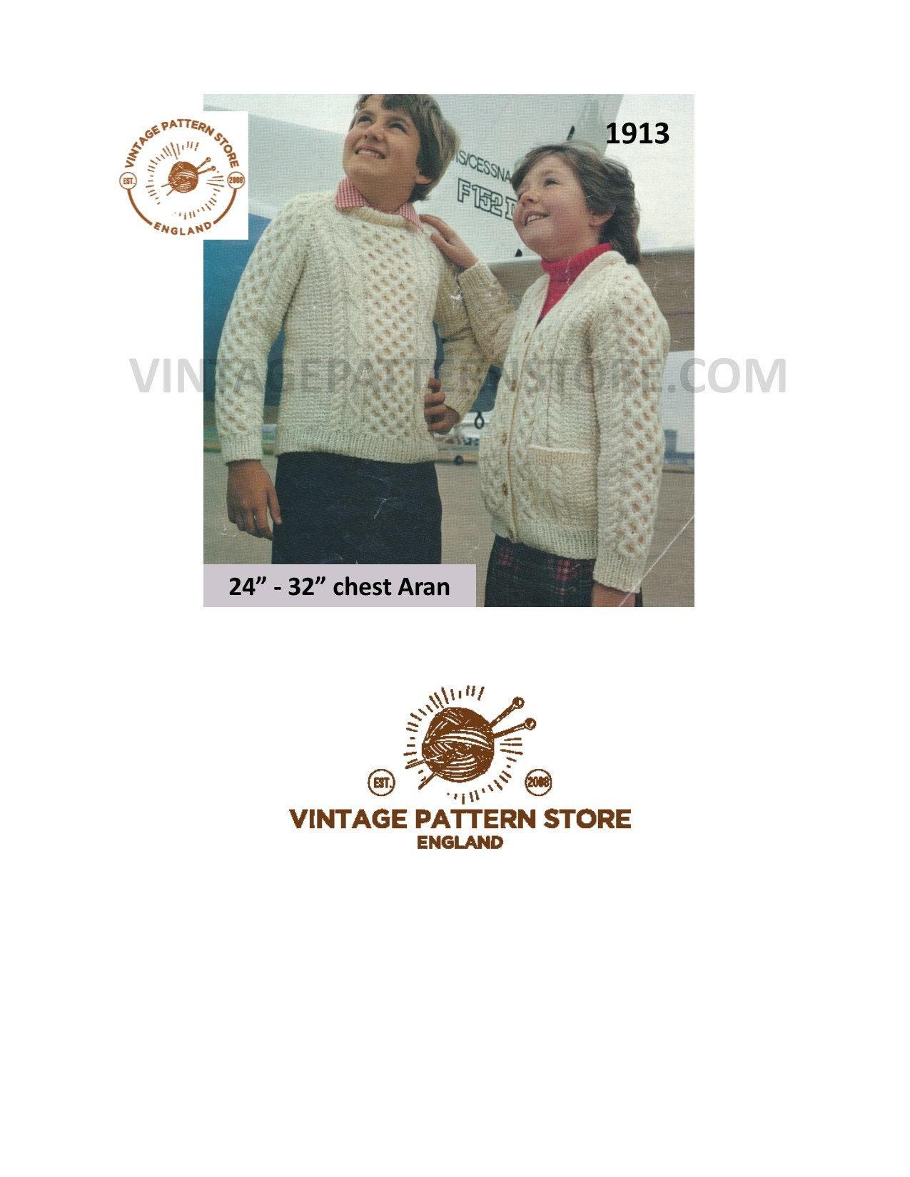 815c4b43f Knitting pattern boys girls aran sweater