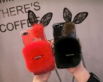 brand new e9073 3dec9 Fur iphone case   Etsy
