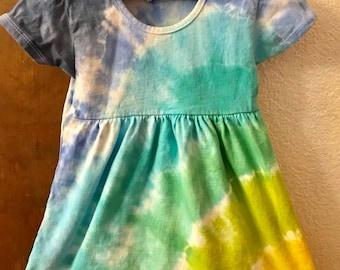 Yellow, Greens and Blues Tie Dye Toddler Dress, Size 4T