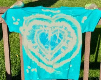 Crazy Heart Bleach Dye Turquoise T-Shirt, Adult Medium