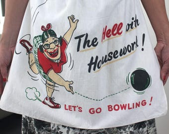 Vintage 1950s bowling apron, humorous, novelty cotton apron, Mothers day gift