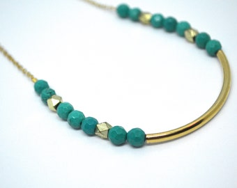 Turquoise and Brass Bead Pendant Necklace