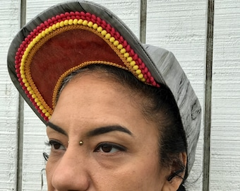 wood grain cap with embellishments