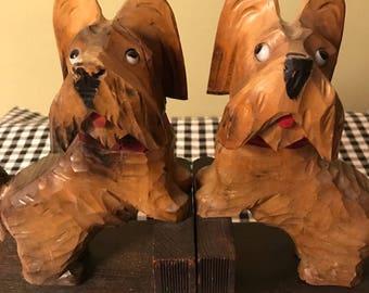 Vintage Carved Wood Scotty Dog Bookends