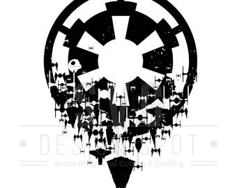 Star Wars Imperial Logo SVG, Imperial Ships Wall Art for Cricut Silhouette Cameo, Design Files for shirts, posters, stickers - Eps Svg Dxf