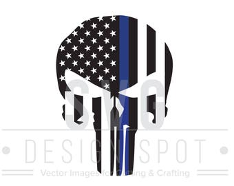 The Punisher Skull Flag Police Officer SVG, Thin Blue Line Skull Law Enforcement Police Sheriff Cricut Silhouette Cameo - Blue Lives Matter