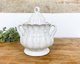 Antique White Ironstone Sugar Jar | Vintage White Ironstone lidded Sugar Jar