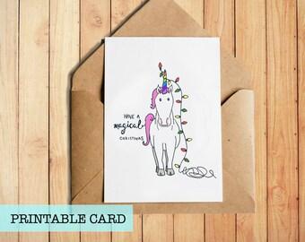 Unicorn Christmas Card   PRINTABLE CARD